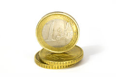 Euro Coins. Some euro coins in a white and infinite background royalty free stock photography