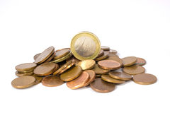 Euro Coins. Some euro coins in a white and infinite background stock image