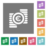 Euro coins square flat icons. Euro coins flat icon set on color square background Royalty Free Stock Image