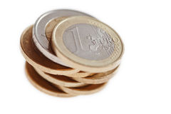Euro coins stacked. A pile of euro coins isolated white Royalty Free Stock Photos