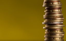 Euro coins stacked on each other. Money concept, close-up Stock Images