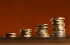 Euro coins stacked on each other. Money concept, close-up Royalty Free Stock Photography