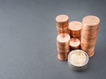 Euro coins. Stacked up euro coins for your financial concepts - focus on the edge of the two euro coin in the front, copy space to the left royalty free stock photography