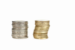Euro coins stacks Royalty Free Stock Photography