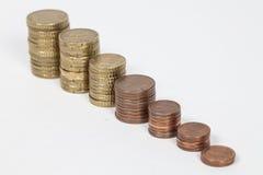 Euro coins. Steps of some Euro coins stock photos
