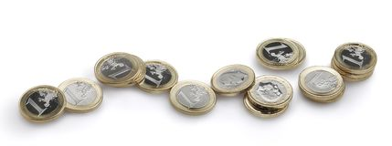 Euro coins still life. Large closeup view Royalty Free Stock Images