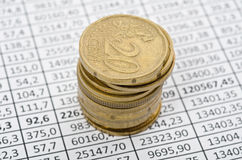 Euro coins on stock chart. Business background, euro coins on stock chart Royalty Free Stock Photos