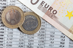 Euro coins and stock exchange results. In detail royalty free stock images