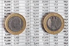 Euro coins and stock exchange results Stock Photos