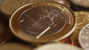 Euro coins super close-up. Spining Euro coins super close-up. Shallow DOF stock video footage