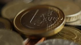 Euro coins super close-up. Spining in slow motion Euro coins super close-up. Shallow DOF stock video