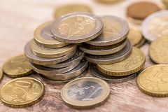 Euro coins on the table. close up. Shiny euro coins on the table. close up Royalty Free Stock Photo