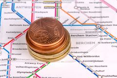 Euro Coins with Touristic Travel Map. Euro coins with city map background in touristic travel and finance concept Royalty Free Stock Images