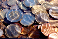 Euro coins under water. Money,euro coins under  water,suitable for background and texture Royalty Free Stock Photo
