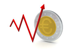 Euro Coins with Up Trend Royalty Free Stock Image