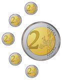 Euro coins in vector Stock Photos