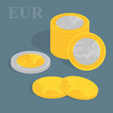 Euro coins. Vector illustration. Stock Image
