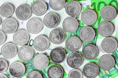 Euro coins. View of euro coins and notes in fantasy color royalty free stock photo