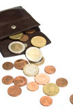 Euro coins and wallet Royalty Free Stock Photos