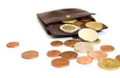 Euro coins and wallet Royalty Free Stock Image