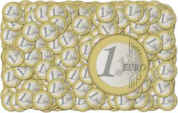 Euro coins wallpaper. And coins stacked on each other in different positions Vector Illustration