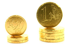 Euro coins on white Stock Images
