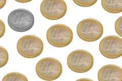 Uniqueness. Euro coins on a white background Stock Image