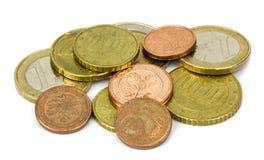 Euro coins  on white background Royalty Free Stock Photo