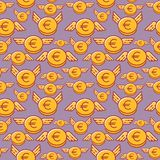 Euro coins with wings, seamless vector pattern, flat line design style royalty free illustration