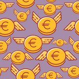 Euro coins with wings, seamless vector pattern, flat line design style stock illustration