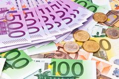 Euro- colagem da moeda Fotos de Stock