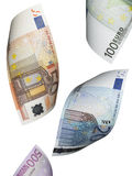 Euro collage de facture d'isolement sur le blanc Photo libre de droits