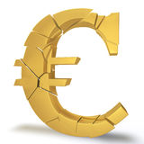 Euro collapsing. Golden Euro symbol on a white background breaks into small pieces Stock Photos