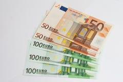 Euro. Colorful euro banknotes on white background royalty free stock image