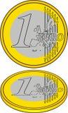 1 euro come simbolo di crisi Immagini Stock Libere da Diritti
