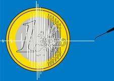 1 euro come simbolo di crisi Immagine Stock