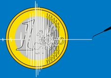 1 euro comme symbole de crise Image stock