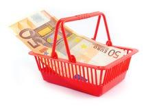 Euro commercio del mercato di bassta del cestino dei soldi Fotografia Stock Libera da Diritti