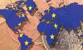 Euro como dinero en circulación global Foto de archivo libre de regalías