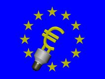 EURO compact fluorescent lamp Royalty Free Stock Photo