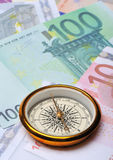 Euro and compass Royalty Free Stock Photos