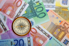 Euro and compass Royalty Free Stock Photo