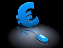 Euro and computer mouse. 3d illustration of euro sign and computer mouse, over black background Royalty Free Stock Photo