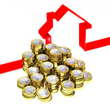 Euro con and 3d house Royalty Free Stock Images
