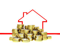 Euro con and 3d house Stock Images