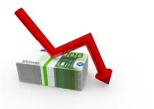 Euro con abajo la flecha Imágenes de archivo libres de regalías