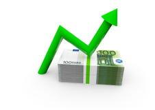 Euro con la flecha ascendente Fotos de archivo libres de regalías