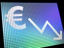 Euro con la freccia giù Immagine Stock