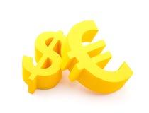 Euro con símbolos del dólar Imágenes de archivo libres de regalías