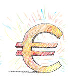 Euro concept. Background image with drawn euro symbol isolated on white Stock Images